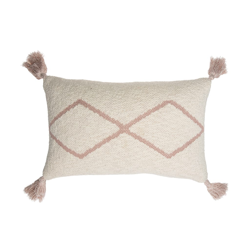 Knitted Cushion – Little Oasis Nat – Pale Pink – 25 x 40 cm