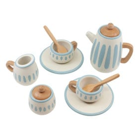 Houten Theeservies –  Classic White/Dusty Teal