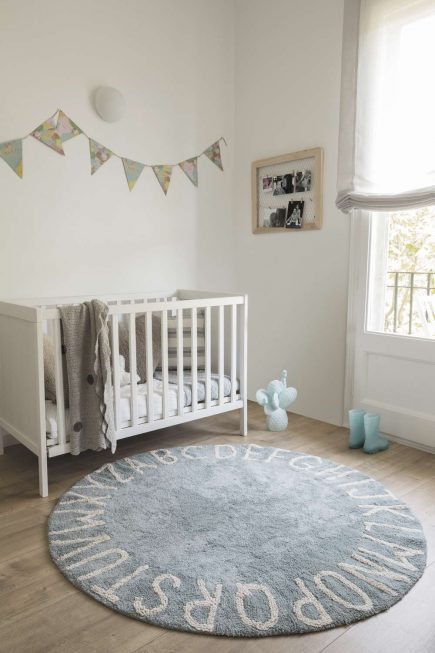 Rond vloerkleed ABC in blue natural2