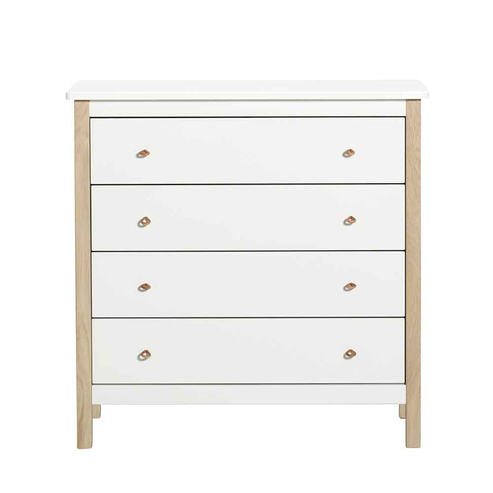 Oliver Furniture – Wood Commode 4 Lades – Wit/Eikenhout